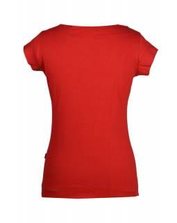 Červené tričko s krátkým rukávem a zelenou aplikací květiny, černá výšivka