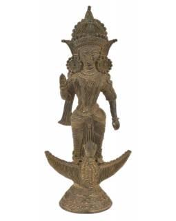 Sarasvátí, Tribal Art, mosazná socha, 22x16x47cm