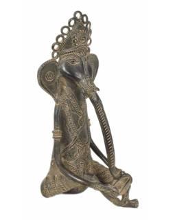 Ganeš hrající na buben, Tribal Art, mosazná socha, 14x15x29cm