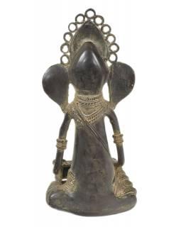 Ganeš hrající na harmonium, Tribal Art, mosazná socha, 14x15x29cm