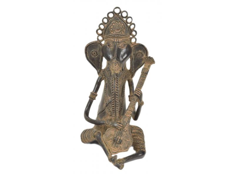 Ganeš hrající na sitar, Tribal Art, mosazná socha, 14x15x29cm