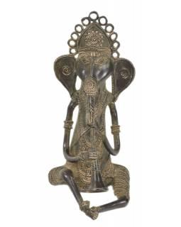 Ganeš hrající na klarinet, Tribal Art, mosazná socha, 14x15x29cm