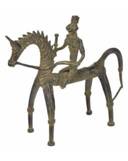 Jezdec na koni, Tribal Art, mosazná socha, 22x8x21cm