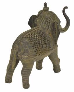 Slon, Tribal Art, mosazná socha, 15,5x5x14cm