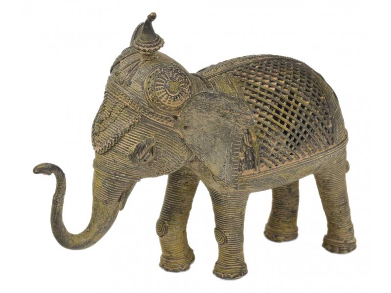 Slon, Tribal Art, mosazná socha, 21x10x17cm