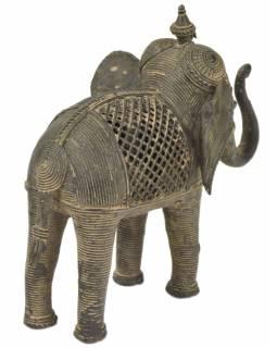 Slon, Tribal Art, mosazná socha, 20x12x19cm