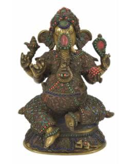 Ganéša, kovová socha vykládaná polodrahokamy, 20x15x30cm