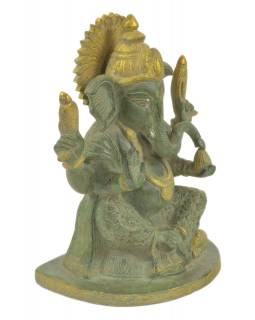 Ganéša, kovová socha, zelená patina, 18x13x24cm