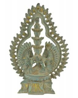 Avalokitešvara, kovová socha, zelená patina, 18x7x25cm