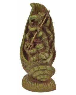 Ganéš v lastuře, kovová socha, zelená patina, 14x10x28cm