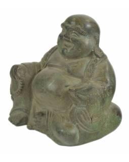 Buddha , kovová socha, zelená patina, 12x8x11cm
