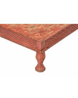Starý stolek, ručně vyřezávané nohy, 92x92x26cm