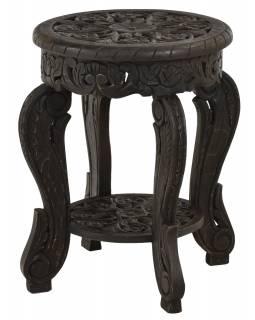 Stolička z mangového dřeva, černá patina, 45x45x60cm