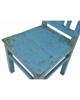 Stará židle z teakového dřeva, tyrkysová patina, 48x47x92cm