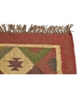 Koberec běhoun, ručně tkaný, vlna, juta, 126x197cm