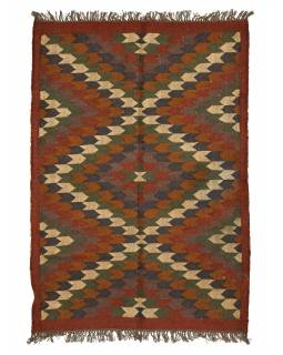 Koberec běhoun, ručně tkaný, vlna, juta, 126x180cm