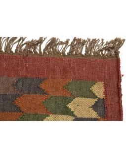 Koberec, ručně tkaný, vlna, juta, 126x180cm