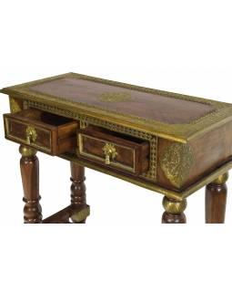 Konzolový stolek z palisandrového dřeva zdobený mosazným kováním, 90x40x85cm