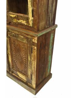 Prosklená skříň z teakového dřeva, dvoudílná, 115x44x206cm