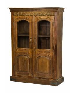 Prosklená skříň z teakového dřeva, 108x45x153cm