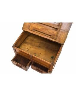 Starý kupecký stolek z teakového dřeva, šuplíky, 63x48x45cm