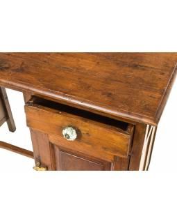 Starý psací stůl z teakového dřeva, 94x46x76cm