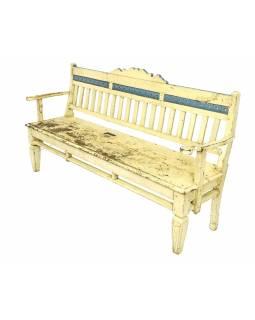 Stará lavička z teakového dřeva, bílá patina, 180x49x96cm