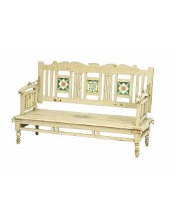Stará lavička z teakového dřeva, zdobená dlaždicemi, bílá patina, 143x55x87cm