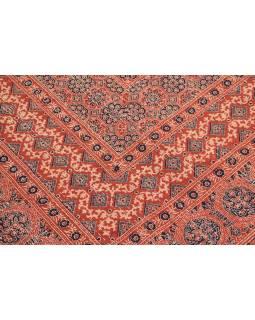 Červený přehoz na postel, block print, ruční práce, prošívání, 226x266 cm