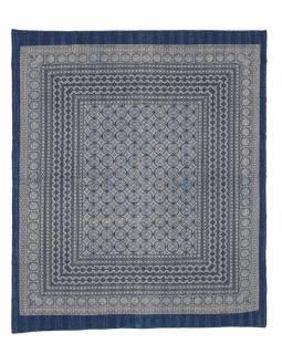 Modrý přehoz na postel, block print, ruční práce, prošívání, 226x267 cm