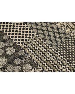 Černo-bílý přehoz na postel, block print, ruční práce, prošívání, 220x271 cm