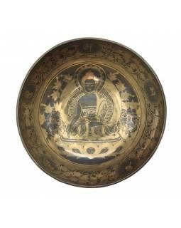 """Tibetská mísa, """"Gulpa"""", gravírovaná s designem, průměr 28cm"""
