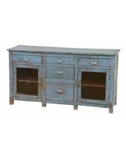 Komoda z teakového dřeva, šedo modrá patina, 141x46x75cm