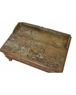 Starý kupecký stolek z teakového dřeva, 80x54x42cm