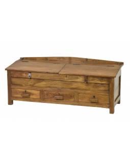 Starý kupecký stolek z teakového dřeva, šuplíky, 123x46x48cm