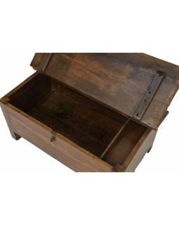 Starý kupecký stolek z teakového dřeva, šuplíky, 76x43x39cm