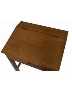 Starý kupecký stolek z teakového dřeva, 65x50x78cm