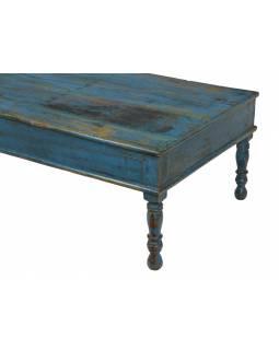 Starý konferenční stolek, modrá patina, 167x70x43cm