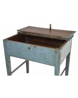 Starý stolek s úložným prostorem, modrá patina, 82x58x85cm