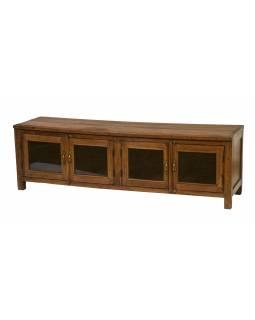 Prosklená skříňka z teakového dřeva, 163x45x50cm