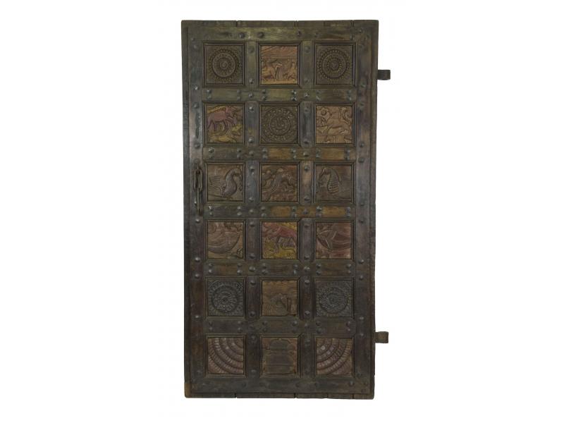 Dveře z Gujaratu, vykládané ručními řezbami, teakové dřevo, 92x7x180cm