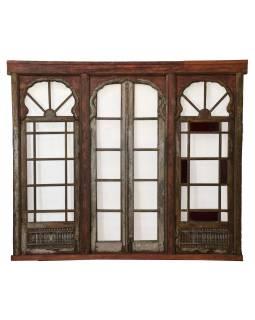 Staré prosklené dveře z Gujaratu, teakové dřevo, 232x11x202cm