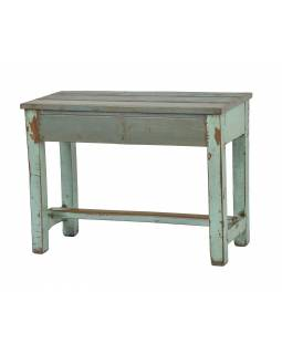 Stolička/stolek z teakového dřeva, tyrkysová patina, 70x29x53cm