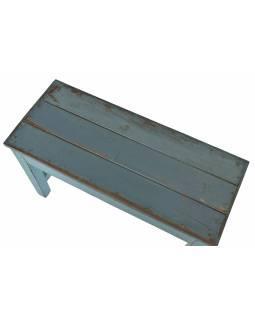 Stolička/stolek z teakového dřeva, tyrkysová patina, 70x29x46cm