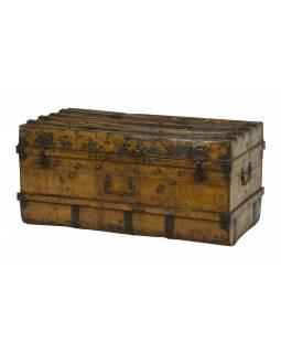 Plechový kufr, staré příruční zavazadlo, 101x50x50cm
