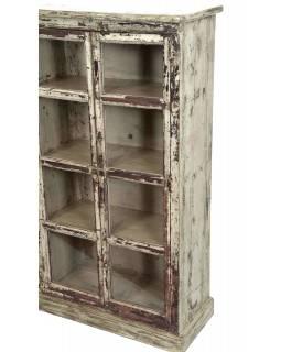 Prosklená skříňka z teakového dřeva, 143x33x130cm