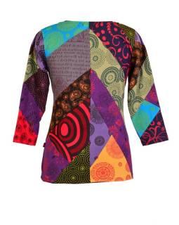 Multibarevné patchworkové tričko s tříčtvrtečním rukávem