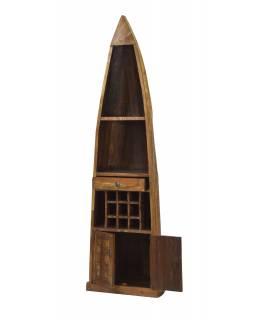Knihovna/vinotéka z mangového dřeva ve tvaru lodi, 58x45x210cm