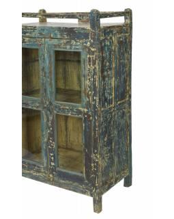 Prosklená skříňka z teakového dřeva, 83x48x139cm