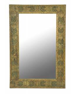Zrcadlo v rámu z teakového dřeva,ručně vyřezávané, 55x3x85cm